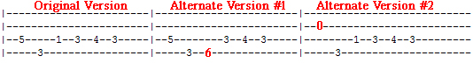 Aqualung bass tab variations